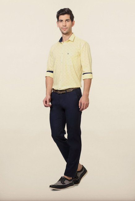 Allen Solly Yellow Printed Slim fit Casual Shirt