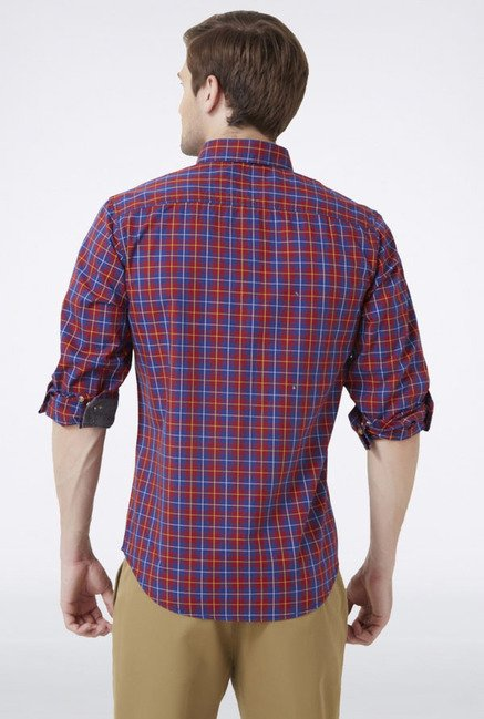 Peter England Red Checks Slim fit Casual Shirt