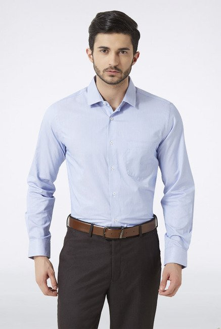 Peter England Blue Striped Slim fit Casual Shirt