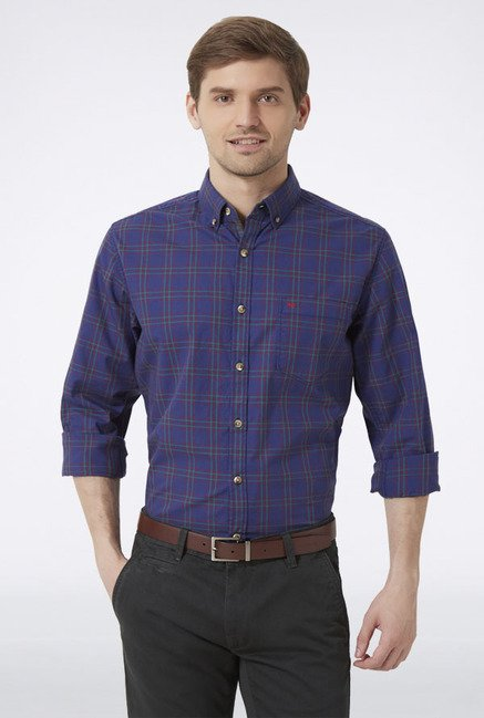 Peter England Navy Checks Casual Shirt