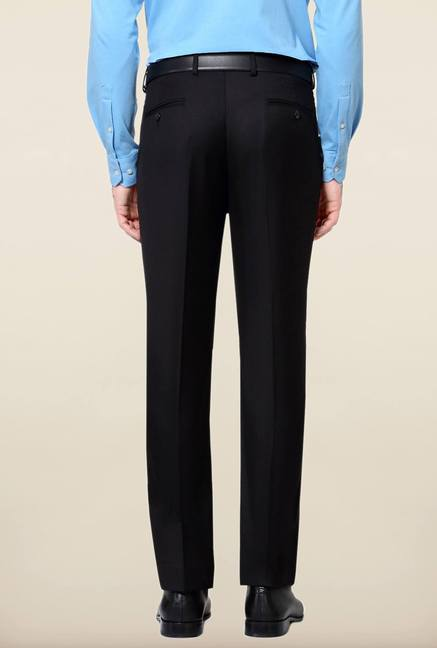 Peter England Black Solid Trouser