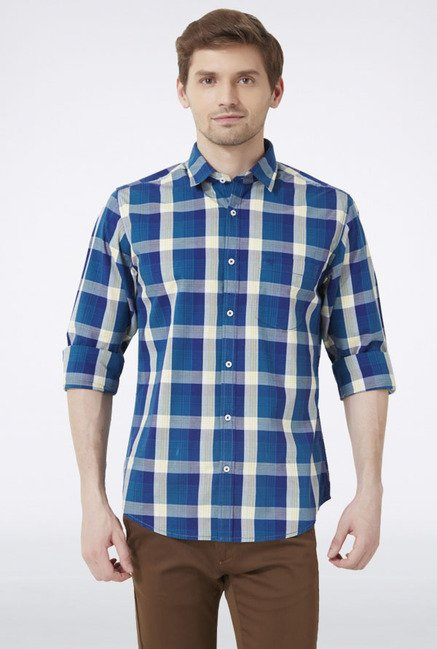 Peter England Blue & Beige Checks Slim fit Casual Shirt