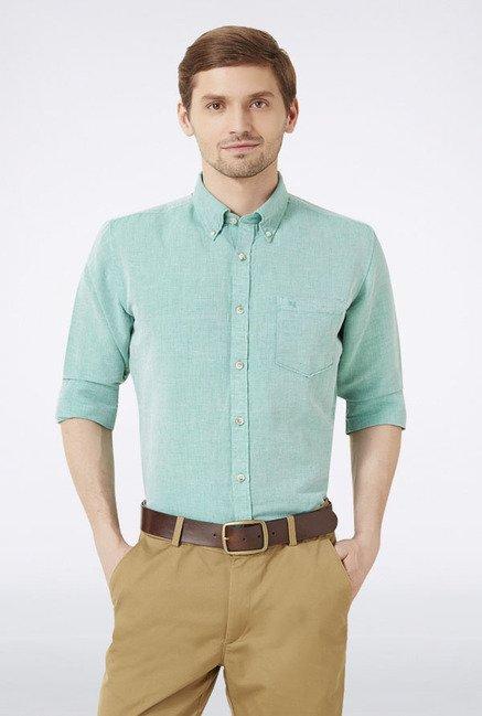 Peter England Green Solid Slim fit Casual Shirt