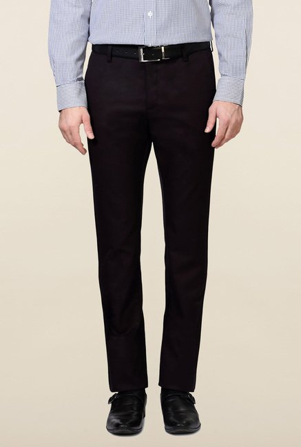 Allen Solly Black Comfort Fit Cotton Trouser