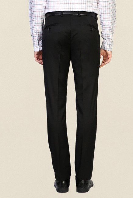 Allen Solly Black Solid Slim Fit Trousers