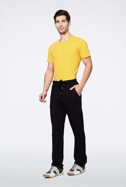Allen Solly Black Solid Track Pants