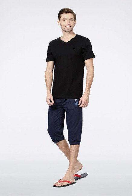 Allen Solly Black Solid T-Shirt