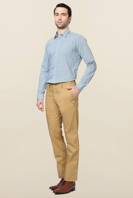 Allen Solly Khaki Solid Cotton Trouser