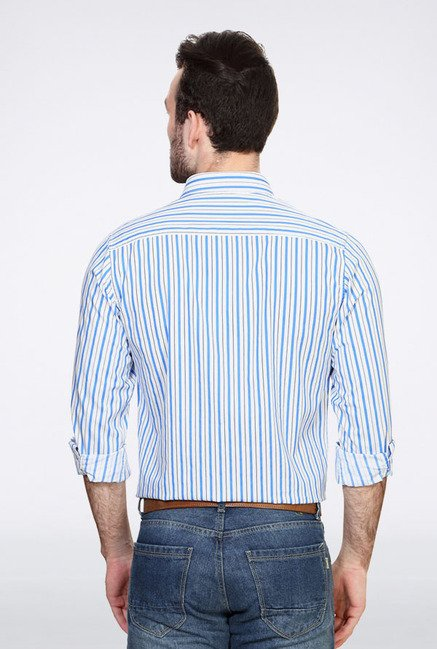 Peter England White & Blue Striped Slim fit Casual Shirt