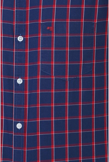 Peter England Navy & Red Checks Slim fit Casual Shirt