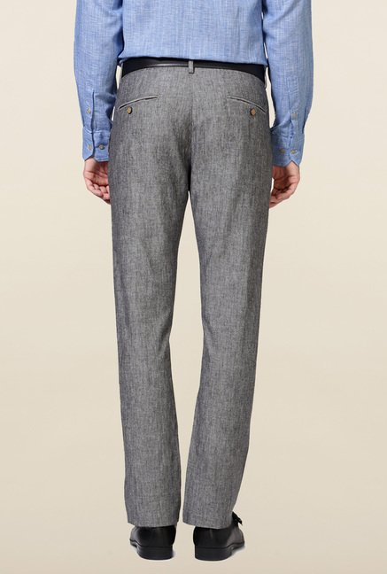 Allen Solly Grey Solid Linen Trouser