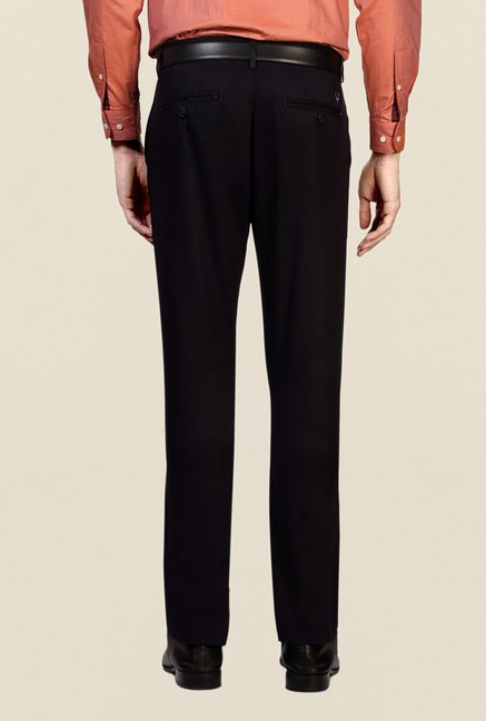 Allen Solly Navy Solid Cotton Trouser
