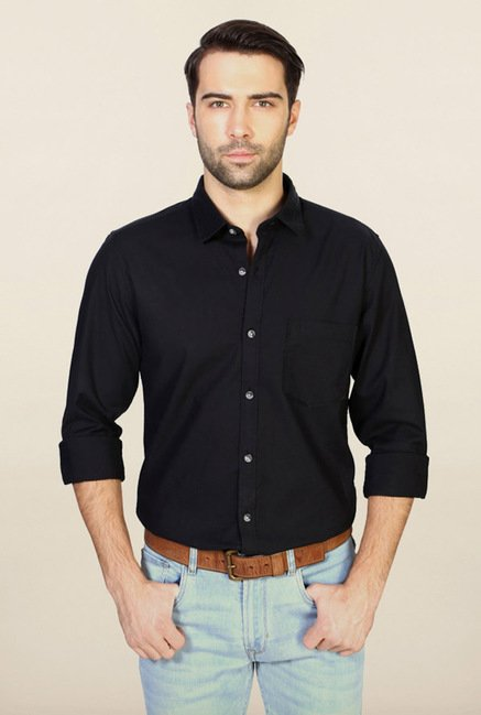 Peter England Black Solid Casual Shirt