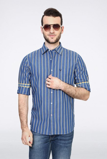 Allen Solly Blue Striped Slim fit Casual Shirt