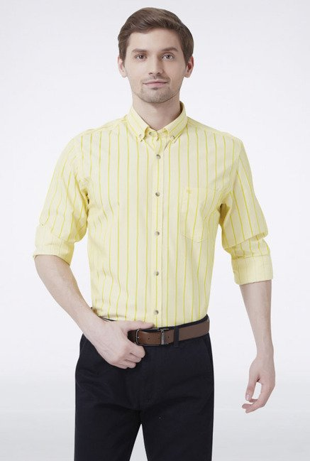 Peter England Yellow Striped Slim fit Casual Shirt