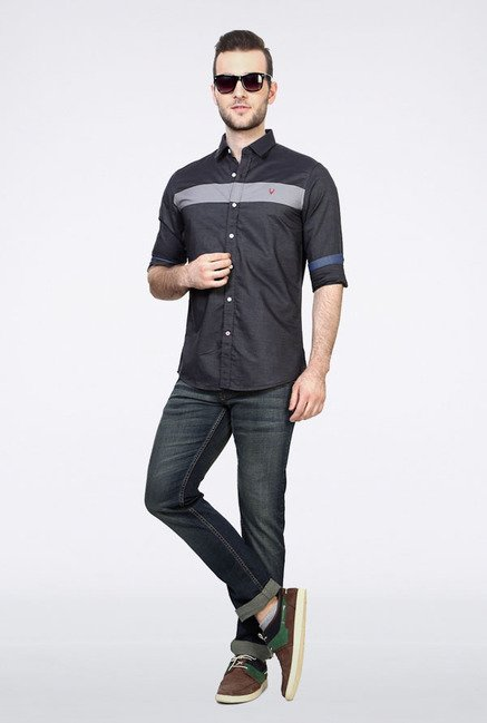 Allen Solly Dark Grey Solid Casual Shirt