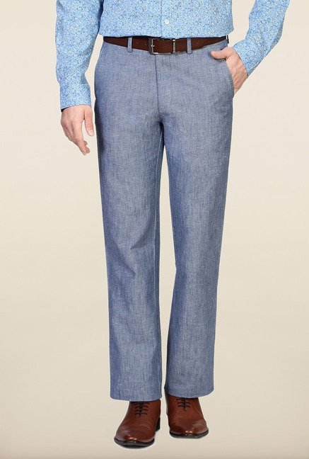 Allen Solly Blue Solid Linen Trouser