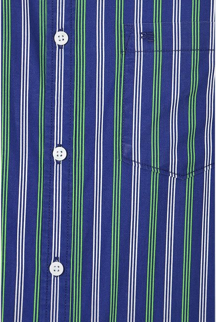 Peter England Green Striped Slim fit Casual Shirt