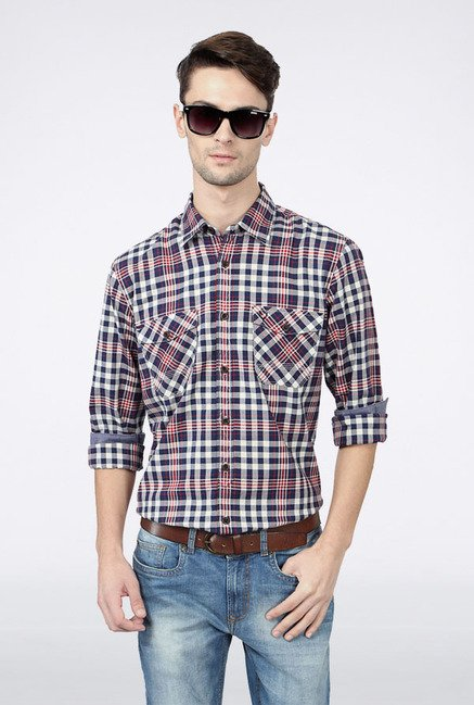 Allen Solly Navy & Red Checks Casual Shirt