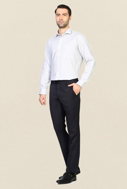 Allen Solly Navy Solid Flat Front Trouser