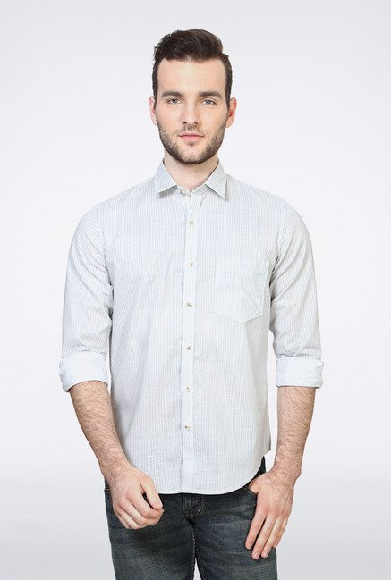 Peter England Grey Pin Striped Slim fit Casual Shirt