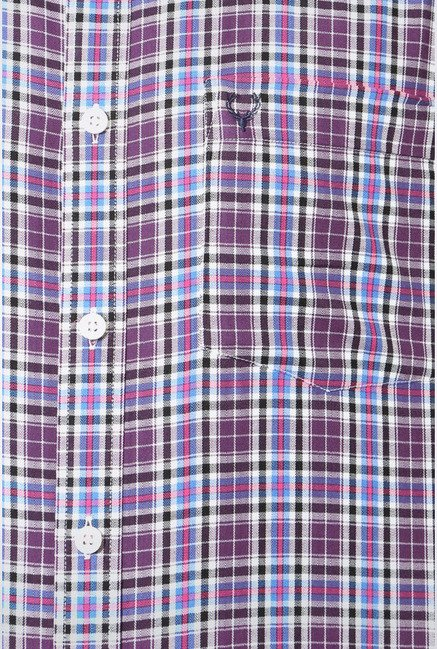 Allen Solly Purple & White Checks Casual Shirt