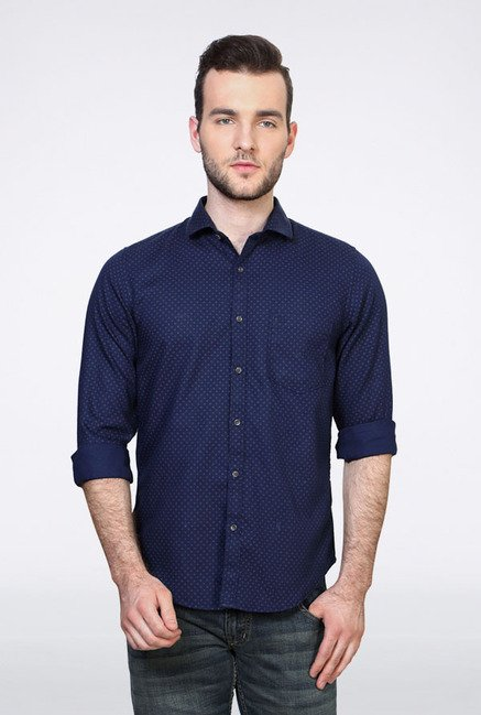 Peter England Navy Printed Casual Shirt
