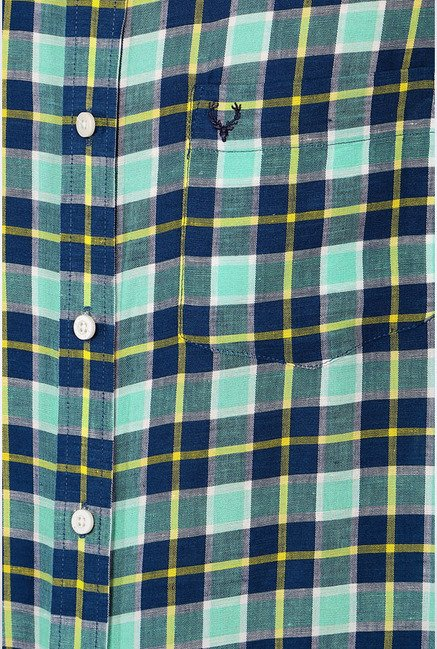 Allen Solly Navy Checks Slim fit Casual Shirt