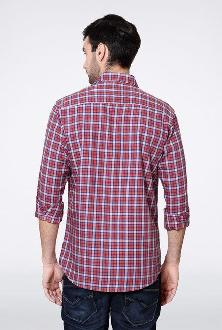 Allen Solly Red & Blue Checks Slim fit Casual Shirt