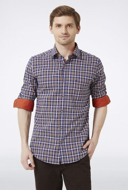 Peter England Blue & Brown Checks Slim fit Casual Shirt