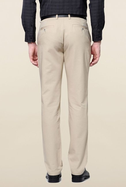 Peter England Beige Slim Fit Cotton Trouser