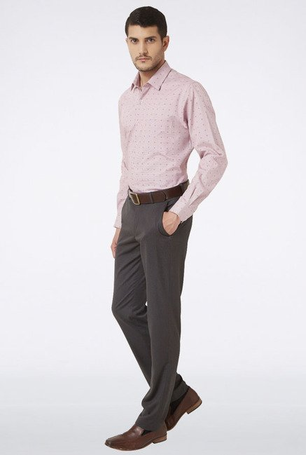 Peter England Pink Printed Slim fit Casual Shirt