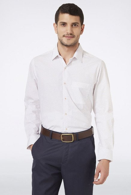 Peter England White Printed Slim fit Casual Shirt