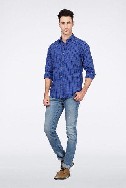 Peter England Blue Casual Shirt