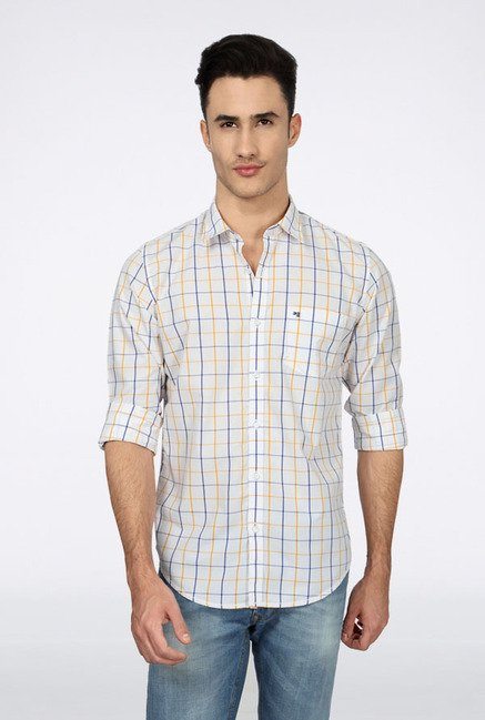 Peter England White Checks Slim fit Casual Shirt