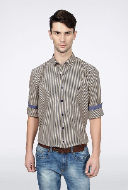 Allen Solly Beige Striped Casual Shirt
