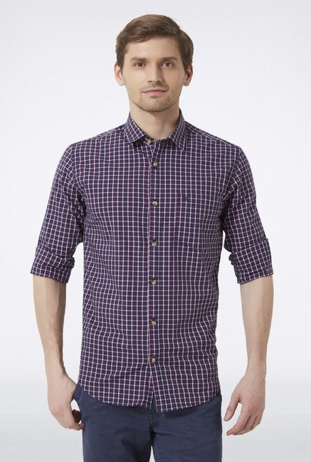 Peter England Dark Blue Checks Slim fit Casual Shirt