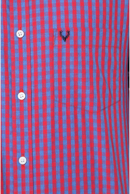 Allen Solly Red Gingham Checks Slim fit Casual Shirt