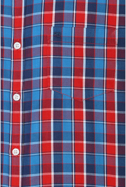 Peter England Blue & Red Checks Casual Shirt