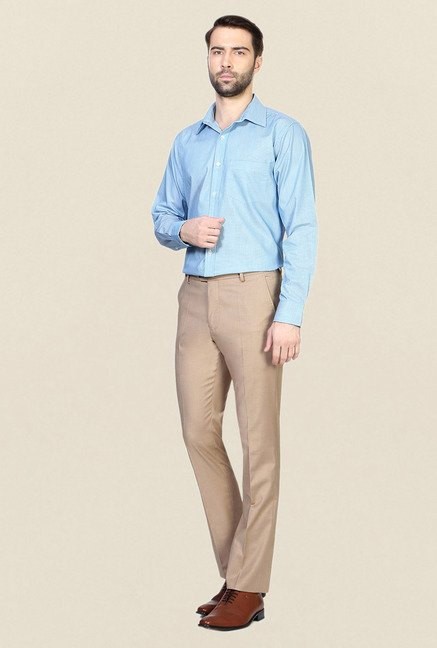 Allen Solly Khaki Solid Trouser
