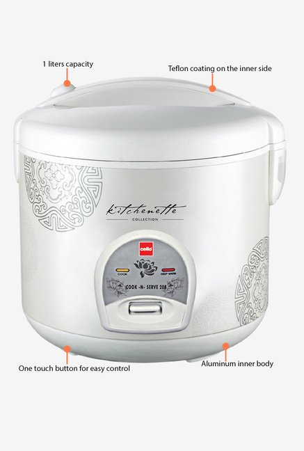 Cook-N-Serve 200 (400W, 1 Ltr) Rice Cooker White