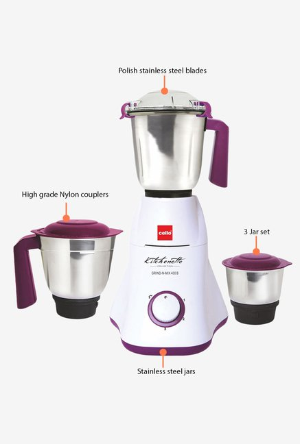 Cello 600W Grind-N-Mix 400 Mixer Grinder Violet & White