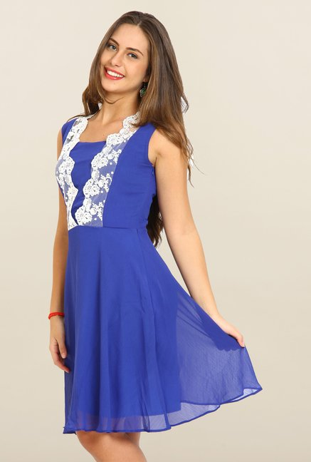 Avirate Blue Lace Square Neck Casual Dress