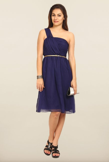 Avirate Navy One Shoulder A-Line Dress