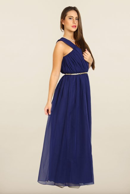 Avirate Navy One Shoulder Maxi Dress