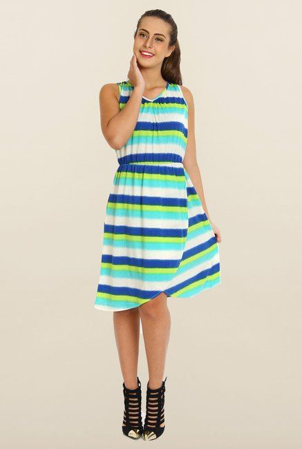 Avirate Multicolor Stripes A-Line Dress