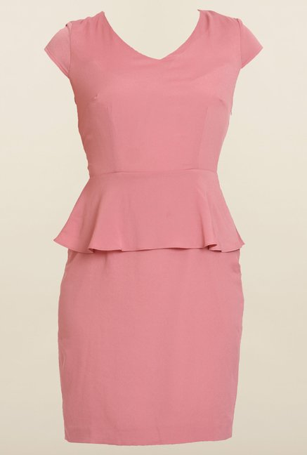 Avirate Pink Solid Cap Sleeve Peplum Dress
