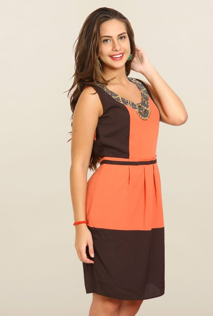 Avirate Black & Orange Solid A-Line Dress