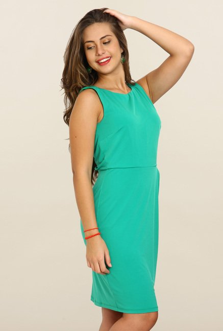 Avirate Turquoise Solid Bodycon Dress