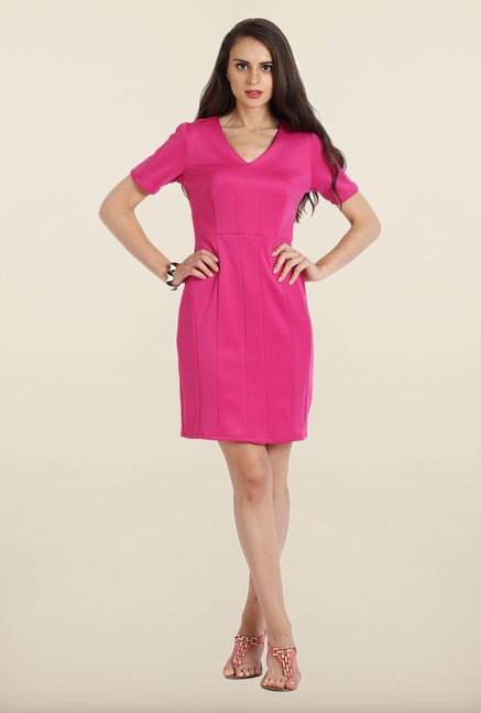 Avirate Pink Solid Short Sleeves Shift Dress